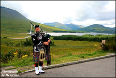 Piper at Glengarry Viewpoint - With Sound Track of Pipes and Drums (Dysartian) Tags: uk green water scotland fife britain hills piper loch bagpipes plaid 1001nights tartan glengarry kirkcaldy dysart lochgarry theroadtotheisles dysartian glengarryhat photographybydysartian