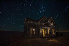 Leave the lights on for me (Sheldon Nalos) Tags: old house abandoned night oregon barn canon landscape long exposure farm down run explore startrails dalles dufur