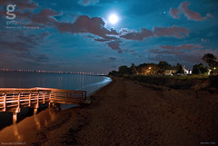 Moonlit Landscape (Large) (a2roland) Tags: a2roland norman zeb a2rolandyahoocom moonlit landscape nj new jersey port monmouth haunted spyhouse moonlight scene night sand beach water waters ocean sea reflection blue haze cloud red orange yellow jetty pier flickr flicker photo pic trees coastline ghost spooky scenery explored keansburg keyport county pics gettyimage getty image © photography all rights reserved