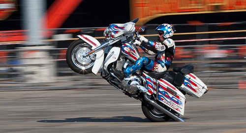 Harley bagger doing a wheelie