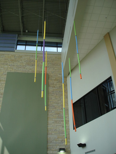 Funnoodles to mock up hanging locations for interactive LED lights. Photo: Alan H. Davidson