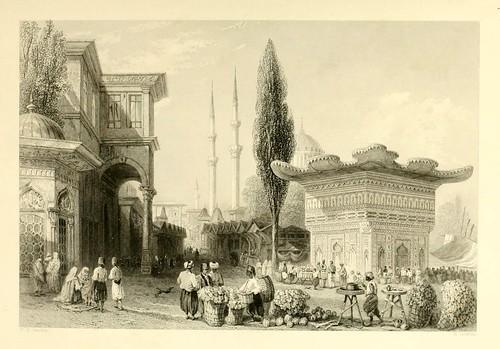 017- Fuente y mercado en Tophannè-Las bellezas del Bosforo 1838-W.H. Bartlett