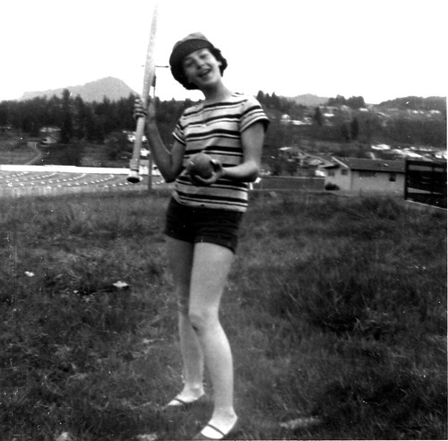 Girl ready to play softball,  1955