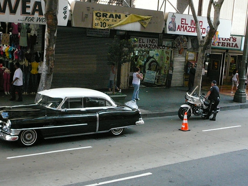 Cadillac in Downtown LA with a Cop
