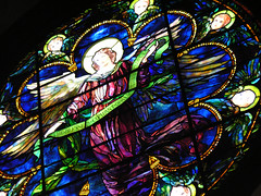 Tiffany glass (jere7my) Tags: vacation church window angel banner maine stainedglass tiffany stainedglasswindow cherubim anglican episcopal mountdesertisland mdi episcopalchurch swil stsaviour saintsaviour swilvacation stsavioursepiscopalchurch