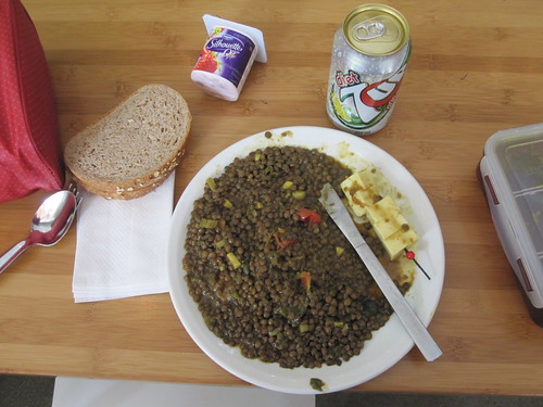 Lentils, cheese, bread and yogourt from home, 7Up from the bistro - 50 cents