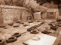 Shed And Tyres 2 (grahambrown1965) Tags: sepia canon sussex shed powershot hut eastsussex tyres tyre g9 canong9 canonpowershotg9