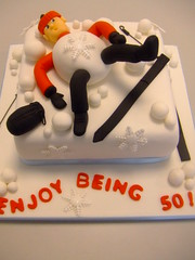 Snow balled! (CAKE Chester) Tags: birthday red snow black hat ball si celebration skis 50th skiier