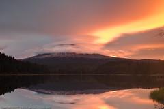 Lenticular clouds on Hood - Sunrise! (dedge555) Tags: lake reflection clouds sunrise trillium nikon mthood nikkor lenticularcloud lenticular trilliumlake 2470mm lenticularclouds d700 nikond700 2470mmf28g afsnikkor2470mmf28ged varinduo