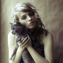 she had a phobia of strangers (holly henry) Tags: portrait cat self vintage grainy lexi hollyskye