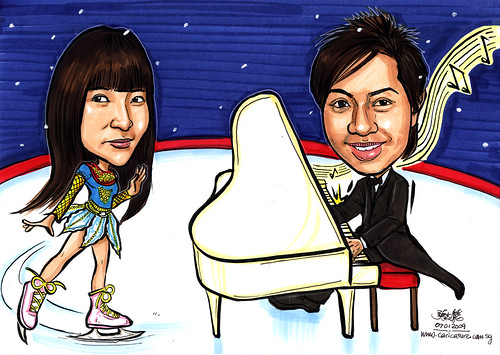 couple caricatures ice blading and pianist