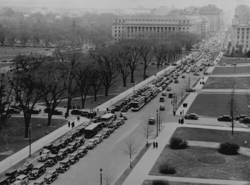 Aerial view of a traffic jam, 14th Street and the Mall, Washington, D.C.,