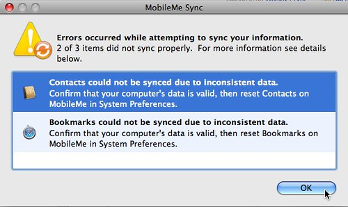 MobileMe Sync Errors