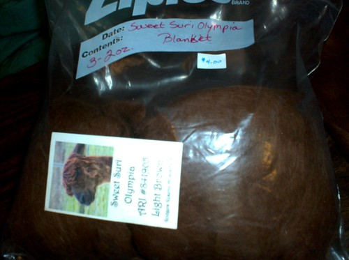 Bag of brown Suri Alpaca roving