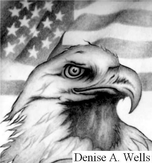 Eagle and American Flag Tattoo Design by Denise A. Wells