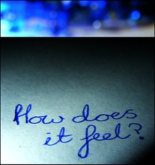 """How does it feel, To treat me like you do"" (JessicaRose:)) Tags: blue shadow white black macro pen writing catchycolors paper words lyrics diptych bokeh question vignette howdoesitfeel neworderlyrics writen"