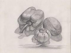 Vegetable still life (catfacehorse) Tags: stilllife lemon drawing garlic capsicum