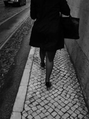 (Mary Jane ) Tags: life city autumn winter bw woman white motion black portugal rain female person photography bay moving high shoes legs head walk maria no lisboa side stranger line mysterious heels passing pt portuguesa calada strret pipocanancy