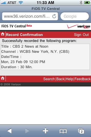 Recording a show with FiOS Mobile