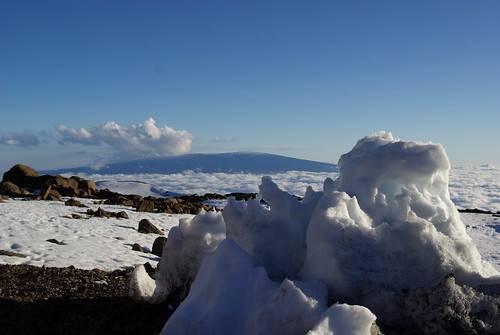 Mauna Loa and the snow of Mauna Kea