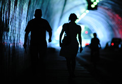He Escorts Her (TJ Scott) Tags: silhouette losangeles tunnel fluorescent cinematic protection 2ndstreet tjscott acinematicworld