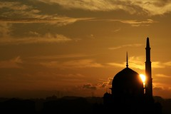 SUNRISE (split.second) Tags: morning sky silhouette sunrise gold warm mosque putrajaya putrajayamosque