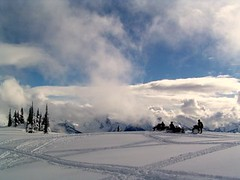 SNOWMOBILING ON THE MOUNTAINS IN REVELSTOKE, BC. (vermillion$baby) Tags: winter revelstoke snowmobiling peaks peak snow cloud vista mountain tree fun highcountry bc pattys favs pattysfavs clouds cold ice landscape snowmobile trail revelstokef trees