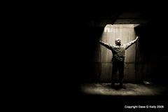 My Nation Underground (Dave G Kelly) Tags: underground underworld prison prisoner light man male darkness spotlight rayoflight pose arms outstretched solitude alone lonely elation canon 350d canoneos350d sigma1020mm uwa ultrawideangle carpark davegkelly selfportrait isolated isolation anawesomeshot dublin ireland irish spiritofphotography abigfave