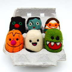 Halloween Egg Set (asherjasper) Tags: halloween wool monster children pumpkin toy jackolantern ghost eggs collectibles eggcarton needlefeltd