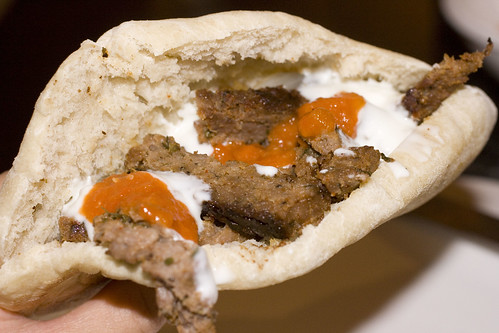 Gyro Sandwich with Hot Sauce and Yogurt Sauce