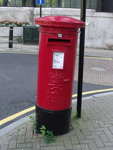 Red Post Box on Temple Row West