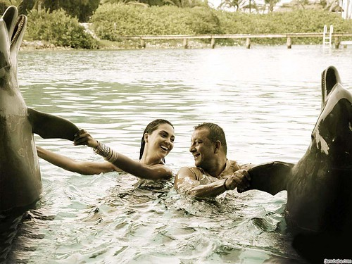 Lara Dutta and Sanjay Dutt with sharks