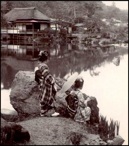 STANDING AND SQUATTING --- Two Geisha in HIKONE PARK