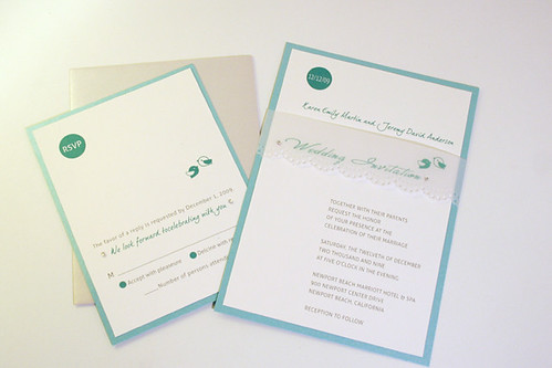 Modern Green Birdie Wedding Invitation