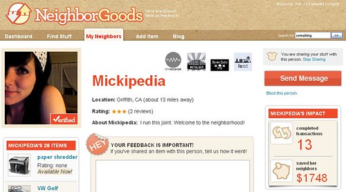 Mickipedia profile on NeighborGoods by you.