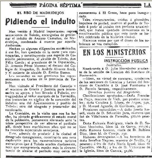 25 de abril de 1914. Reseña de la lucha por evitar la pena de muerte de Aniceto Camuñas. La Correspondencia de España