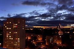 My Small World (krysensea) Tags: blue light sky cloud cars skyline night clouds evening abend nacht horizon kirche himmel wolken autos blau potsdam horizont beleuchtung lichter hochhaus nikolaikirche lampen havel häuser mercure langzeitbelichtung hochhäuser wohnblöcke blöcke zentrumost humboldtring