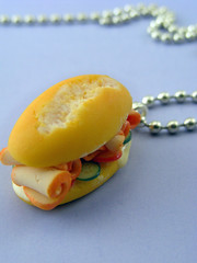Pastrami Sandwich Necklace (Shay Aaron) Tags: food bread lunch miniature necklace break handmade unique aaron fake funky mini jewelry charm polymerclay fimo baguette tiny greens faux shay pendant salami geekery jewel petit sundaybreakfast                      shayaaron  wearablefood