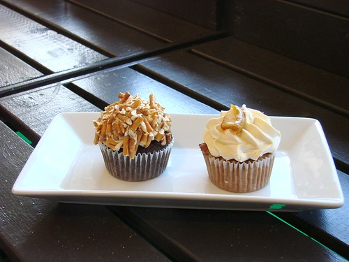 Chocolate Salted Caramel Pretzel Cupcake and Caramel Apple Cupcake from Robicelli's