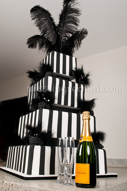 Black and White birthday Cake. This is the 4ft cake photographed with the