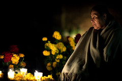 Memories of a lost daughter (Luis Montemayor) Tags: graveyard night dayofthedead mexico noche candles cementerio oaxaca diademuertos oldlady anciana velas cementery