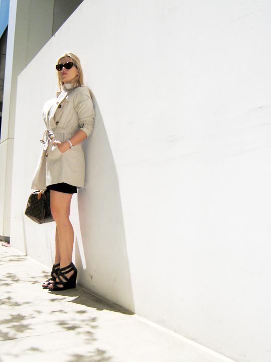 Burberry Trench Coat+Louis Vuitton bag