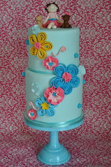 Just a cute girly cake! (jdesmeules (Blue Cupcake)) Tags: flowers dog girl cake paper blooms figurine quil fondant quilling