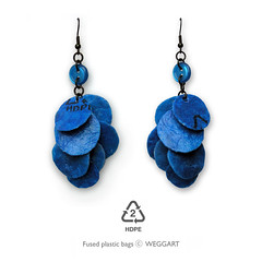 Plastic Bag Flakes Earrings (weggart) Tags: recycled buttons alternativematerialjewelry