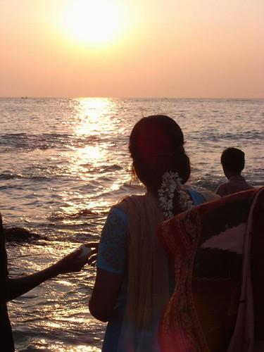 3つの海が交わるカーニャクマリの夕暮れ。sunset, kanyakumari/cape comorin
