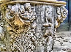Bran Castle (Dracula's Castle) inner yard fountain-details (Sebastian Condrea) Tags: old detail castle statue stone yard europa europe sebastian details statues dracula east romania eastern hdr bran draculascastle condrea sebastiancondrea
