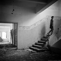 the quest (thodoris markou) Tags: light portrait 120 6x6 tlr female stairs dark square movement kodak corridor emotive bw400cn photina