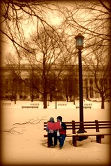 Thoughts For Tots (Ronaldo F Cabuhat) Tags: park travel winter friends boy red vacation snow cold love girl sepia kids canon bench children fun happy photography reading book photo scenery moments child buddies friendship image small joy picture footprints happiness pals visit scene lamppost photograph memory tots care chum eternal liitle kidsinwinter cabuhat childreninwinter winterinalbanyny marymargaretcabuhat goranbenedictcabuhat