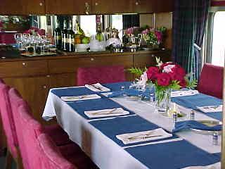 Private Rail Car interior - Scottish Thistle dining