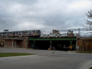 Eastbound CTA Green Line rapid transit train. Oak Park Illinois. October 2006.